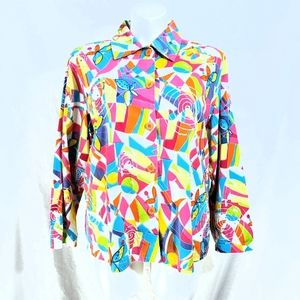 Life Style Colorful Butterfly & Swirl Blazer